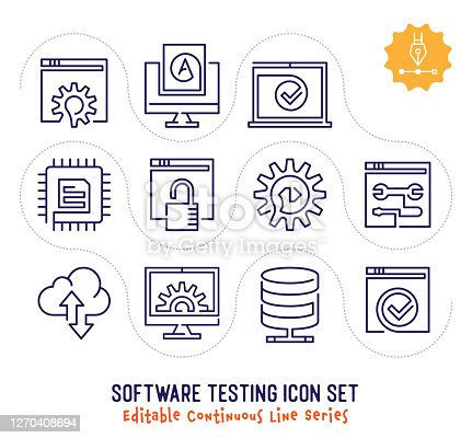 Software testing vector icons set for logo, emblem or symbol use. This collection is part of single line minimalist drawing series with editable strokes.