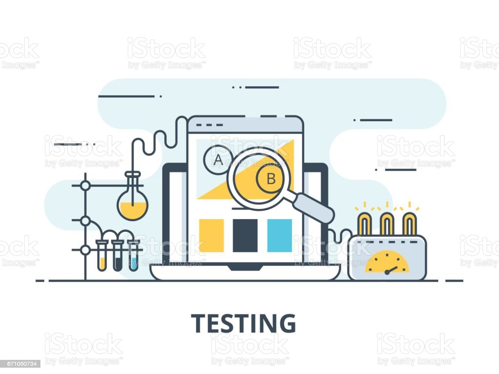 Software testing flat icon. Software testing vector illustration. Flat design. Software testing successful vector art illustration