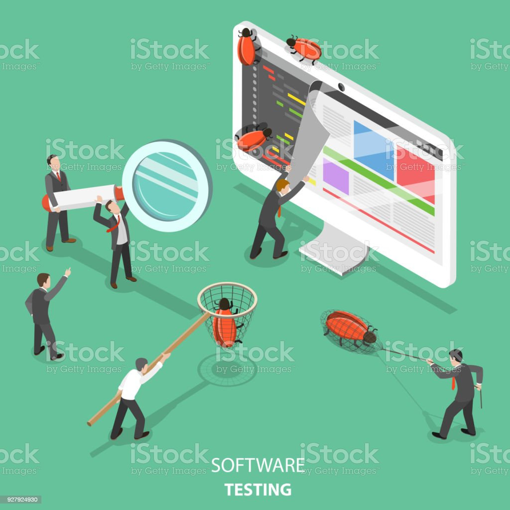 Software testing flat isometric vector concept. vector art illustration