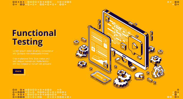Software testing isometric banner, functional test Software testing isometric landing page. Functional test, mobile application and website platform development, dashboard usability optimization for computer and tablet pc 3d vector line art web banner test drive stock illustrations