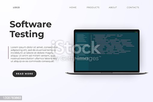 Software testing landing website page template. Software development, programming code. Soft coding and testing, vector