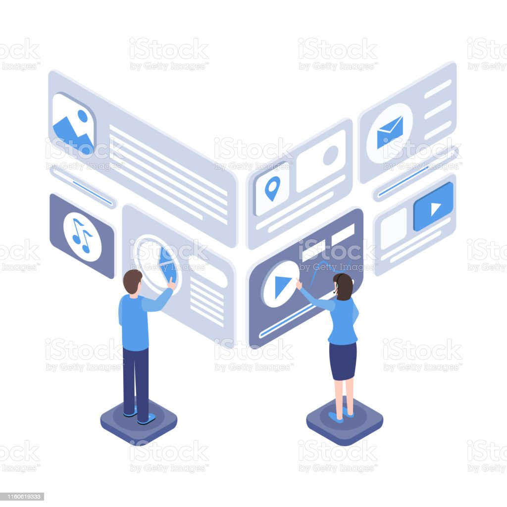 Software testing vector isometric illustration. Programmers creating...