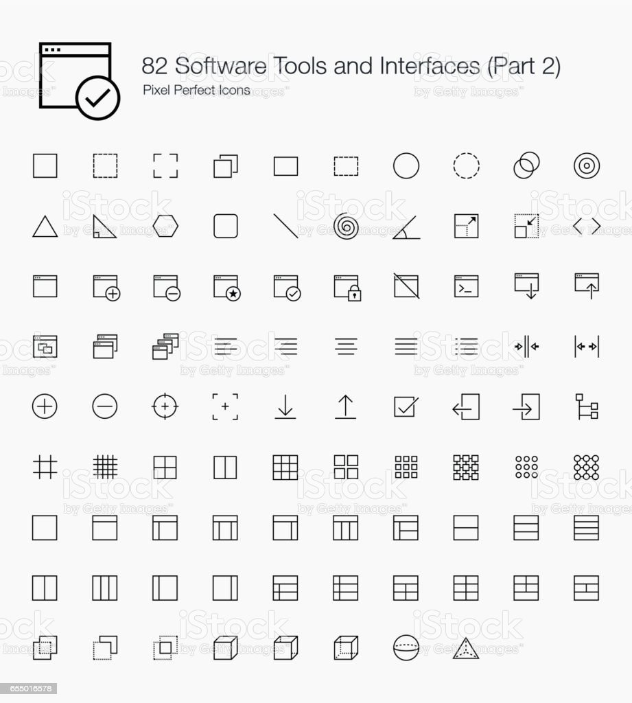 82 Software Tools and Interfaces (Line Style) Part 2 of 2 vector art illustration