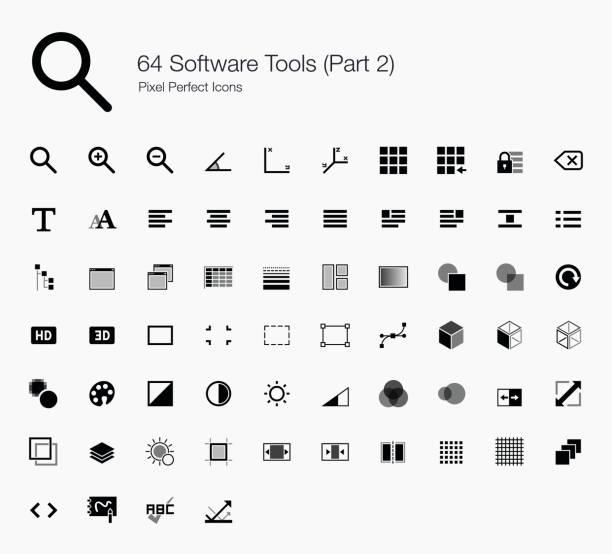 64 software tools (part 2 of 2) - kontrast stock illustrations
