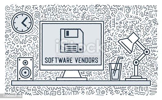 Software vendors outline icon designs with doodle like background. This artwork would be perfect for page layouts, cards, banners or invitations.