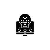 Software vulnerabilities black icon concept. Software vulnerabilities flat  vector website sign, symbol, illustration.
