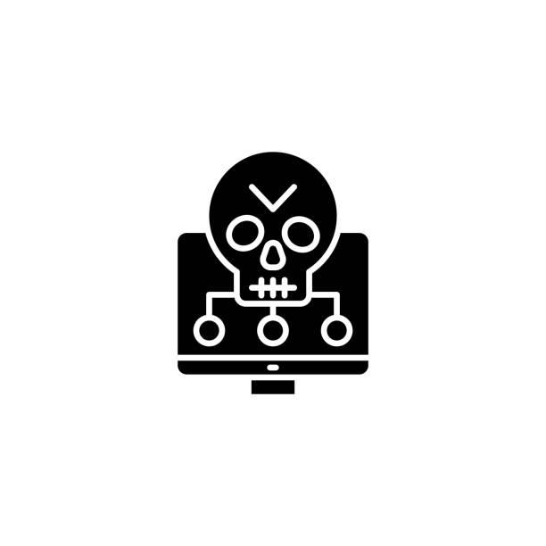 軟體漏洞黑色圖示概念。軟體漏洞平面向量符號, 符號, 插圖。向量藝術插圖