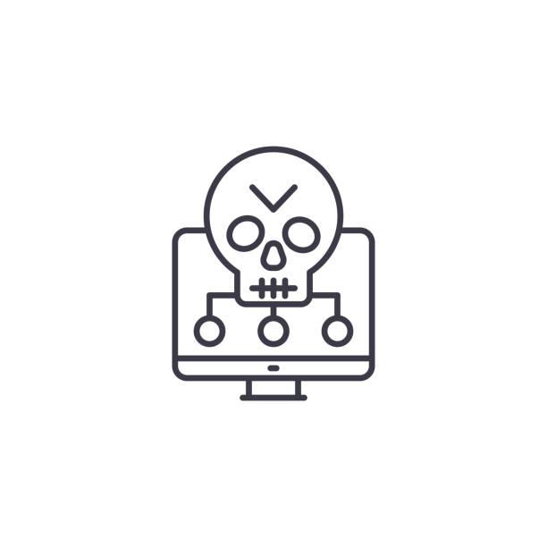 軟體漏洞線性圖示概念。軟體漏洞線向量符號, 符號, 插圖。向量藝術插圖