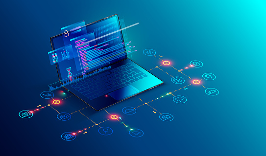 Software, web development, programming concept. Abstract Programming language and program code on screen laptop. Laptop and icons company network . Technology process of Software development clipart