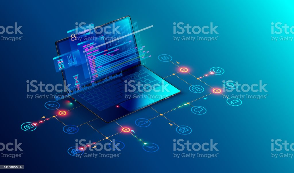 Software, web development, programming concept. Abstract Programming language and program code on screen laptop. Laptop and icons company network . Technology process of Software development vector art illustration
