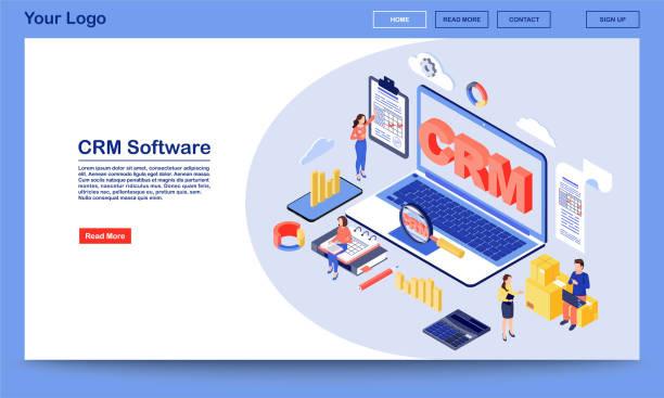 crm ソフトウェア web ページ - アイソメトリック点のイラスト素材/クリップアート素材/マンガ素材/アイコン素材