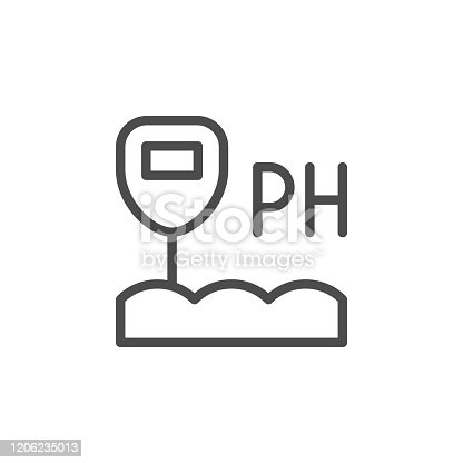 Soil acidity line outline icon isolated on white. Equipment of indicator ph. Acid, pollution, alkaline value sign. Vector illustration