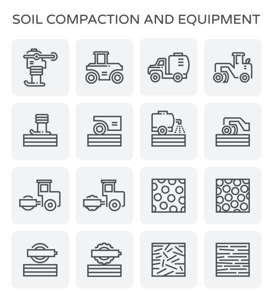 soil compaction icon Soil compaction and equipment icon set. annelid stock illustrations