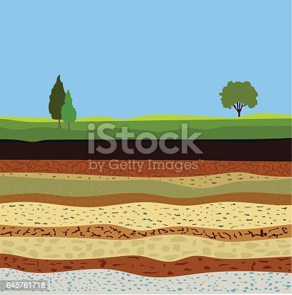 soil formation and soil horizons, underground layers of earth, landscape with sky and trees, the geological structure of the earth