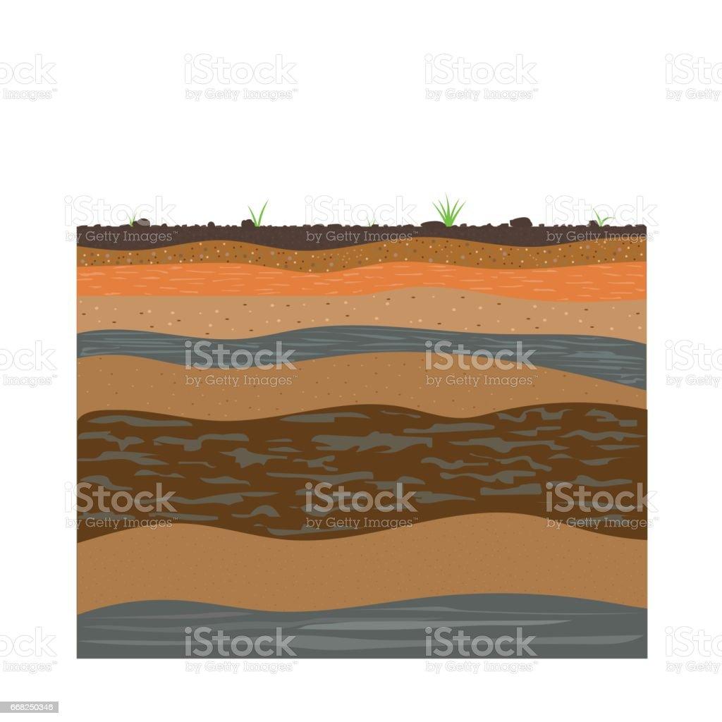 soil formation and soil horizons vector art illustration