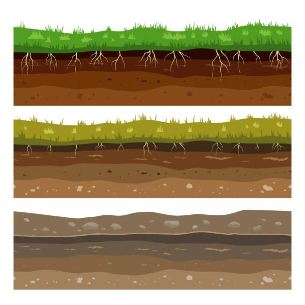 bodenschichten. nahtlose campo-boden boden schmutz lehm-oberfläche textur mit steinen und gras. vektor - mineral stock-grafiken, -clipart, -cartoons und -symbole