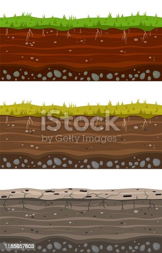 Soil ground layers. Seamless ground, earth drying process. Dirt clay surface texture with stones and grass. Vector landscape layered set