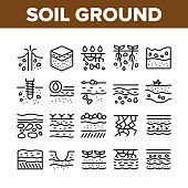 Soil Ground Research Collection Icons Set Vector. Soil Ground With Old Bone And Geyser, Drilling And Watering, Fertile And Desert Concept Linear Pictograms. Monochrome Contour Illustrations