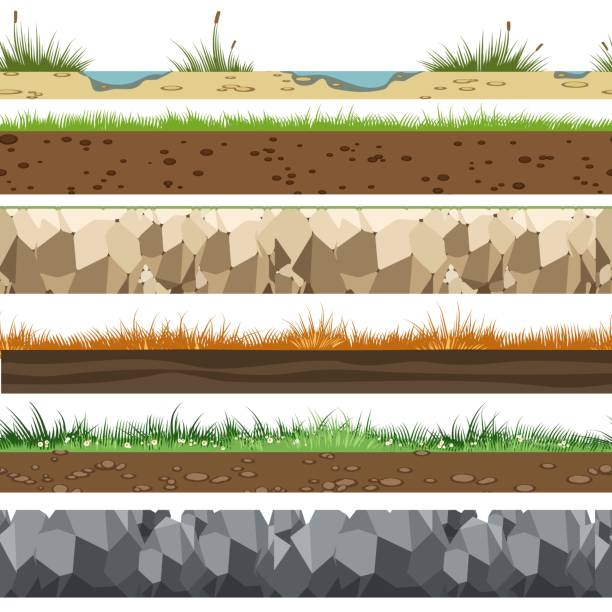 Soil horizontal patterns Soil horizontal patterns. Underground of land layers with rocks, limestone and grass gaming background vector illustration digital composite stock illustrations