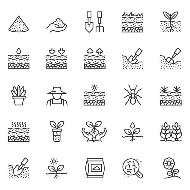 soil icon set - composting stock illustrations