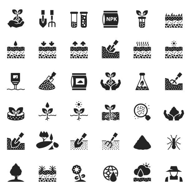 illustrazioni stock, clip art, cartoni animati e icone di tendenza di soil icon set - composting
