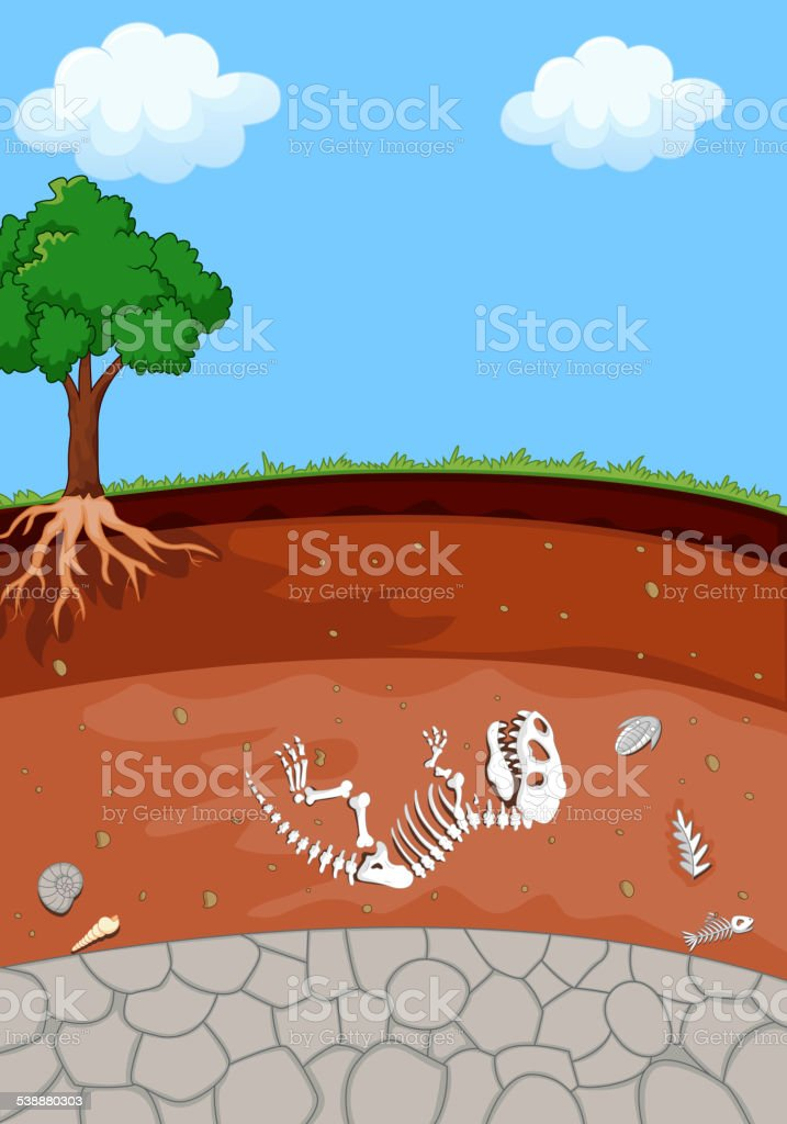 Soil Layers with cartoon dinosaur fossil vector art illustration
