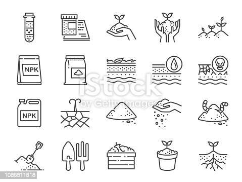 Soil line icon set. Included the icons as earth, compost, land, dirt, ground and more.