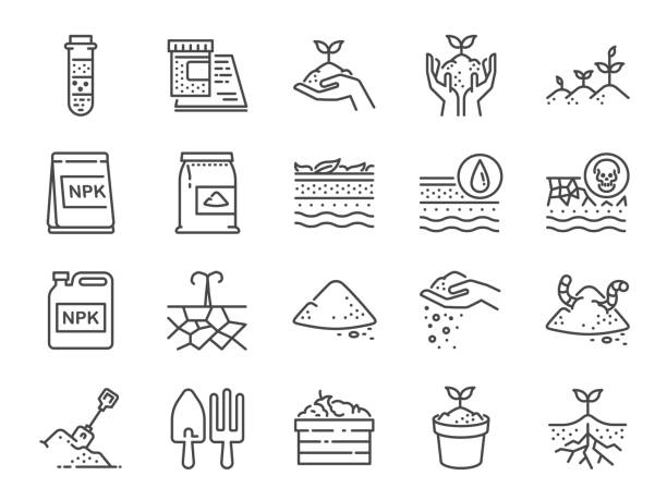 illustrazioni stock, clip art, cartoni animati e icone di tendenza di soil line icon set. included the icons as earth, compost, land, dirt, ground and more. - terra