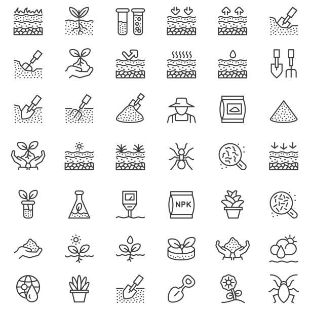 illustrazioni stock, clip art, cartoni animati e icone di tendenza di soil line icon set - composting
