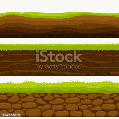 Soil Seamless layers. Landscapes of the earth. Layered dirt clay, ground layer with stones and grass on dirts, cliff texture, underground buried rock. The earth and green meadow. Set of realistic landscapes. vector.