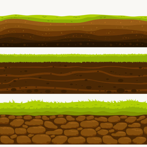 illustrazioni stock, clip art, cartoni animati e icone di tendenza di soil seamless layers ground layer. stones and grass on dirts. vector - terra
