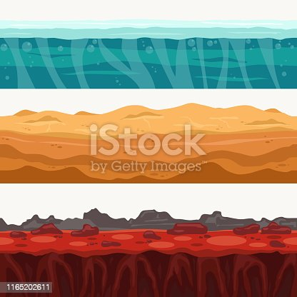 Soil Seamless layers surroundings with Rock stone. Water surface, volcanic lava, desert sand. The Earth Layered dirt clay, ground layer with stones and grass on dirts, cliff texture, underground buried rock. The earth and green meadow. Vector
