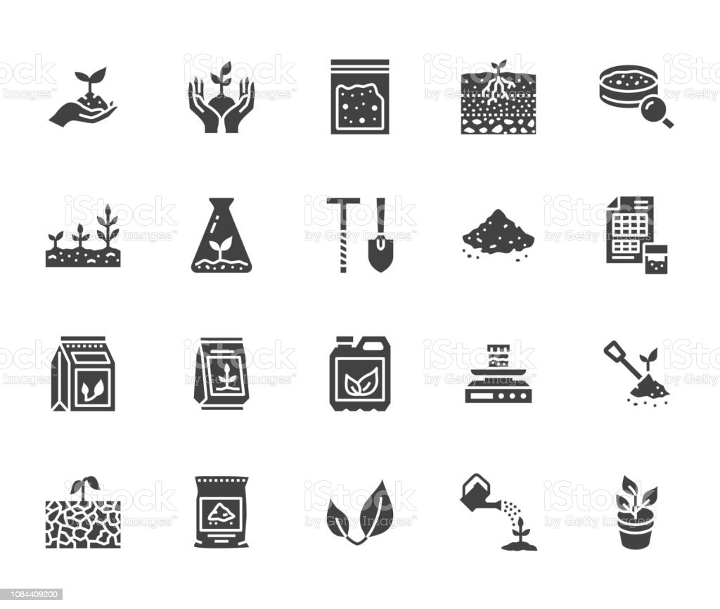 Soil testing flat glyph icons set. Agriculture, planting vector illustrations, hands holding ground with spring, plant fertilizer. Signs for agrology survey. Solid silhouette pixel perfect 64x64 royalty-free soil testing flat glyph icons set agriculture planting vector illustrations hands holding ground with spring plant fertilizer signs for agrology survey solid silhouette pixel perfect 64x64 stock illustration - download image now