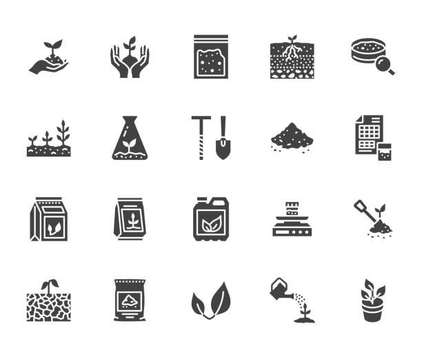 badanie gleby płaskie ikony glifów zestaw. rolnictwo, sadzenie ilustracji wektorowych, ręce trzymające ziemię z wiosną, nawóz roślinny. znaki do badania agrologii. solidna sylwetka piksela idealna 64x64 - erodowany stock illustrations