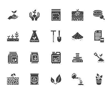 Soil Testing Flat Glyph Icons Set Agriculture Planting Vector Illustrations Hands Holding Ground With Spring Plant Fertilizer Signs For Agrology Survey Solid Silhouette Pixel Perfect 64x64 Stock Illustration - Download Image Now