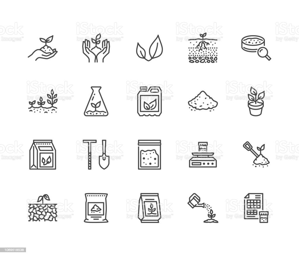 Soil testing flat line icons set. Agriculture, planting vector illustrations, hands holding ground with spring, plant fertilizer. Thin signs for agrology survey. Pixel perfect 64x64. Editable Strokes
