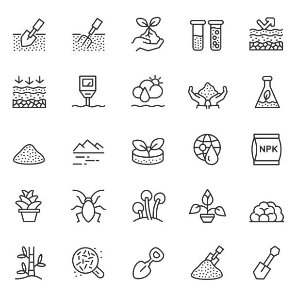 soil vector icon set - composting stock illustrations