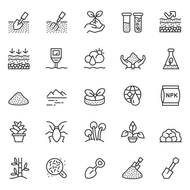 illustrazioni stock, clip art, cartoni animati e icone di tendenza di soil vector icon set - composting