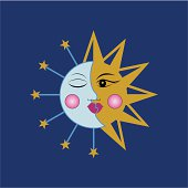 Sun & Moon - Ancient Civilization Symbol Vector - High Res JPEG included