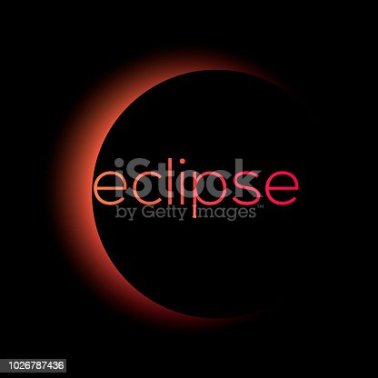 Solar and lunar eclipse vector. Gradient total eclipse