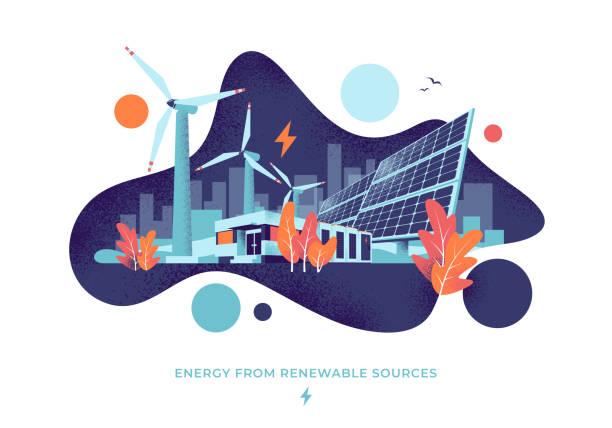 stockillustraties, clipart, cartoons en iconen met zonne-en wind energie elektriciteitscentrale vloeistof cirkel stijl illustratie - renewable energy