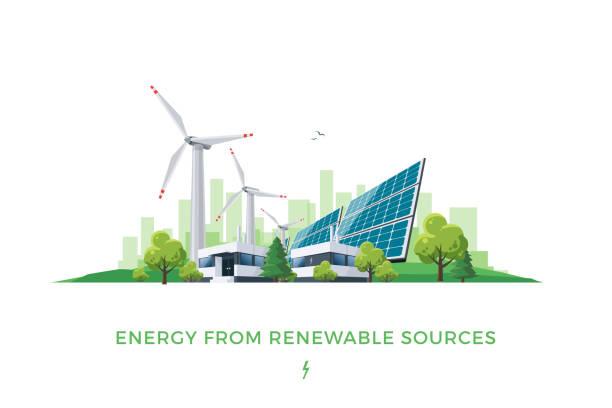 stockillustraties, clipart, cartoons en iconen met zonne- en wind power plant - renewable energy