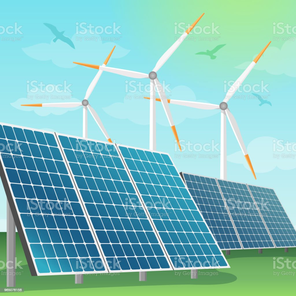 Solar batteries and windmills vector illustration royalty-free solar batteries and windmills vector illustration stock vector art & more images of alternative lifestyle