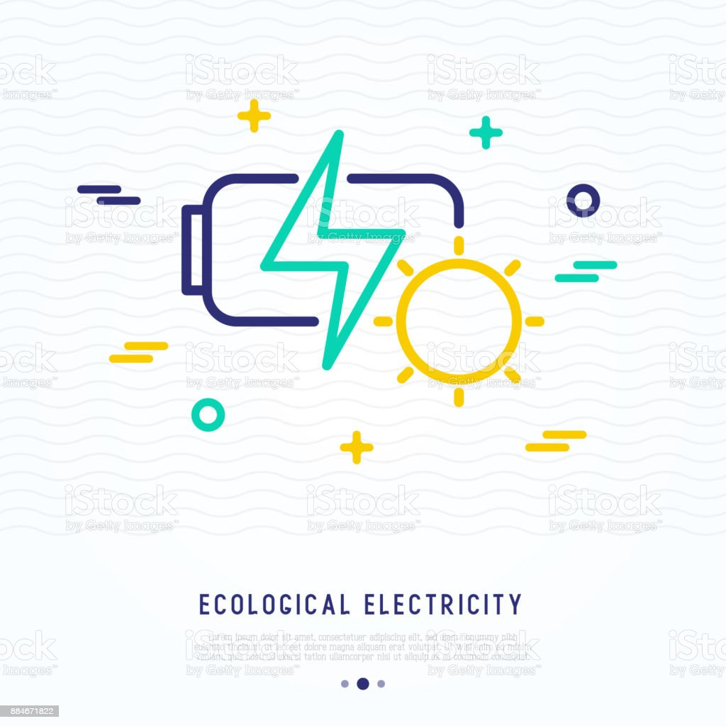 Solar Battery Charging Thin Line Icon Modern Vector Illustration Of Ecological Electricity Royalty