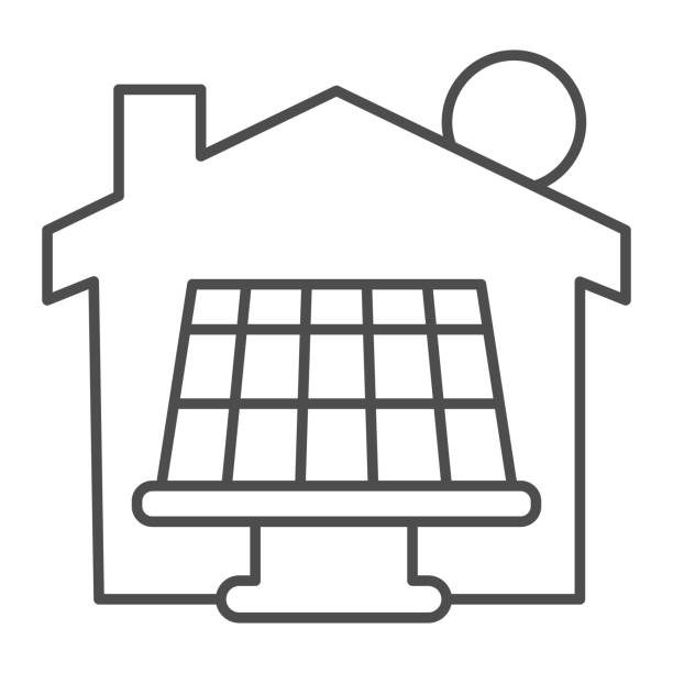 ilustrações de stock, clip art, desenhos animados e ícones de solar battery with sun and house thin line icon, smart home symbol, solar panels batteries and green energy vector sign on white background, solar panel produce energy for house icon in outline. - solar panel