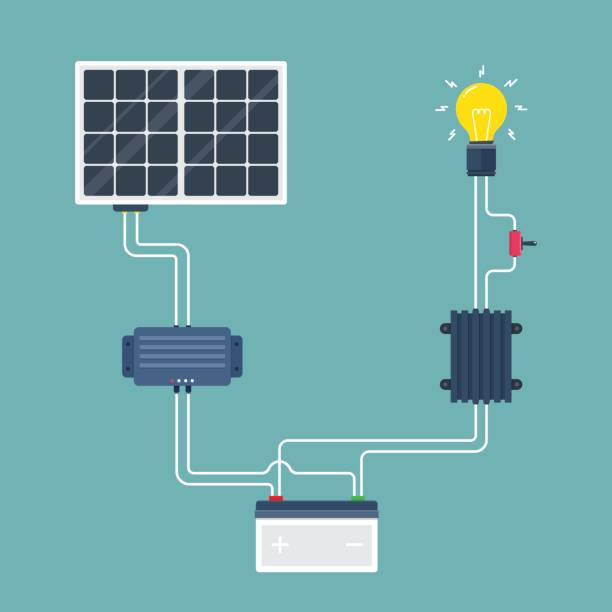 solar cell circuit. natural energy. vector illustration. - solar panels stock illustrations