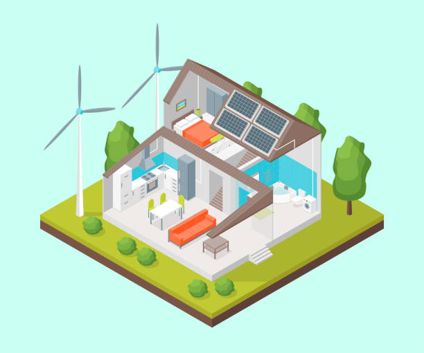 solar cell system in home concept 3d isometric view. vector - ilustracje z kategorii architektura stock illustrations