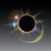 Solar eclipse, abstract light-rays of light. Blurred light rays and lens flare backdrop. Star burst with sparkles. The planet covering the Sun. Isolated on transparent background.
