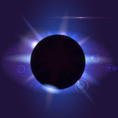 Solar eclipse, astronomical phenomenon - full sun eclipse. Abstract composition. Light rays and lens flare backdrop. Glow light effect. Star burst with sparkles