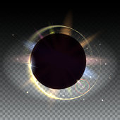 Solar eclipse, astronomical phenomenon - full sun eclipse. Circular light rays and lens flare backdrop, Abstract bright background isolated on trasparent. Isolated on transparent.